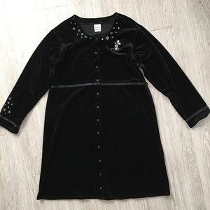 Disney Womens Nightgown Black Velvet Mickey Mouse